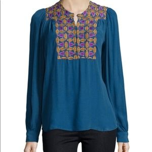 ANTIK BATIK ANTHROPOLOGIE EMBROIDERED BLOUSE XS
